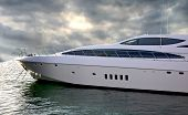 stock photo of pontoon boat  - A Luxury Yatch parked in its berth during the Dubai International Boat Show - JPG