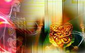 image of excretory  - Digital illustration of a human digestive system and Skelton - JPG