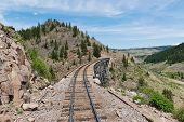 picture of trestle bridge  - A wooden railroad trestle in southern Colorado - JPG