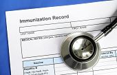 pic of flu shot  - Immunization Record concept of vaccination and disease prevention - JPG