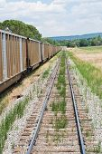 stock photo of boxcar  - Railway line and boxcars La Veta Colorado - JPG