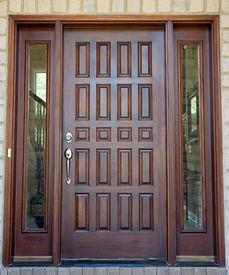 picture of front door  - Large Wooden Front Door of an Expensive Home - JPG
