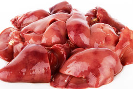 picture of giblets  - Fresh raw chicken liver on a white - JPG