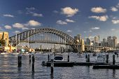 pic of cbd  - Boats at their moorings in Lavender Bay with the view to Luna Park - JPG