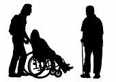stock photo of lame  - Vector graphic disabled in a wheel chair - JPG