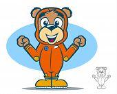 stock photo of jumpsuits  - Cute teddy bear cartoon wearing an orange jumpsuit - JPG