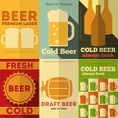 stock photo of malt  - Beer Retro Posters Collection in Flat Design Style - JPG