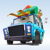 foto of car carrier  - car with winter travel outfit vector illustration - JPG