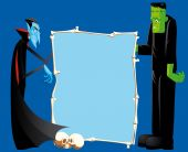 stock photo of frankenstein  - Isolated illustration of Dracula And Frankenstein With Bones Frame - JPG