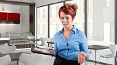 stock photo of pushy  - young red head waitress fed up with her job - JPG