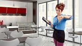 image of pushy  - young red head waitress fed up with her job - JPG