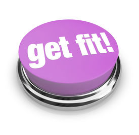 stock photo of cardio exercise  - A purple button with the words Get Fit on it - JPG