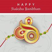 pic of rakhi  - Beautiful rakhi design on floral decorated grey background on the occasion of Happy Raksha Bandhan - JPG
