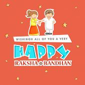 picture of rakhi  - Beautiful greeting card design with stylish text Happy Raksha Bandhan with illustration of cute little girl tying rakhi on her brother hand on stars decorated orange background - JPG