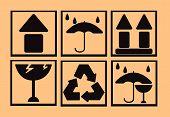 image of fragile sign  - Fragile symbol on cardboard background for any use - JPG