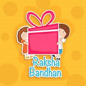 foto of rakshabandhan  - Happy Raksha Bandhan celebration background with cute little brother and sister holding a huge pink gift box on bright yellow background - JPG