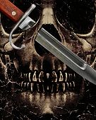 foto of skull cross bones  - Dark photo collage violence concept artwork showing a dark skull with his left balleyes crossed by a kitchen knife - JPG