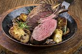 foto of deer meat  - venison rack with potato - JPG