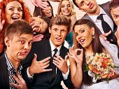 stock photo of marriage decoration  - Bride and groom in photobooth - JPG