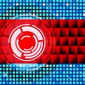 stock photo of lp  - Red Circles Background Meaning Record And LP Disc - JPG