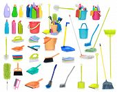 pic of sanitation  - set of Cleaning supplies isolated on white background - JPG