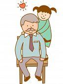 stock photo of grandpa  - The view of grandpa with granddaughter       - JPG