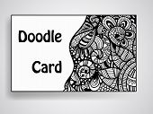 picture of std  - Vector business card template with doodle floral pattern original design hobo std font in examples mesh and transparency effects in shadows - JPG