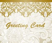 picture of std  - vector greeting card with golden floral border Brush Script Std Medium font fully editable eps 10 file - JPG