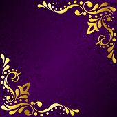 picture of brocade  - stylish vector frame with a metallic corners - JPG