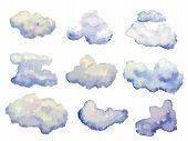 foto of windy weather  - Vector set of watercolor clouds isolated on white - JPG