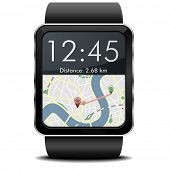 foto of gps navigation  - detailed illustration of a wearable smartwarch with a GPS navigation screen - JPG