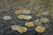 picture of copper coins  - coins under water - JPG