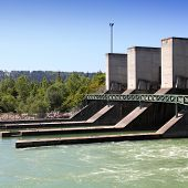 picture of hydro  - Hydro power plant on Traun river in Marchtrenk Austria - JPG