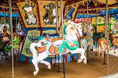 picture of carousel horse  - A white horse on a carousel at the fair - JPG