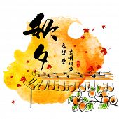 stock photo of mid autumn  - Vector Hanok Roof Top Persimmons Ink Painting for Korean Chuseok  - JPG