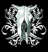 image of saber  - skull cow and sabers decorated floral elements - JPG