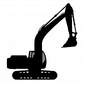 stock photo of backhoe  - The silhouette of the excavate on a white background - JPG