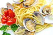 foto of clam  - italian traditional food composed by spaghetti pasta and seafood clams - JPG