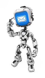 foto of mechanical engineer  - Small 3d robotic figure over white isolated - JPG