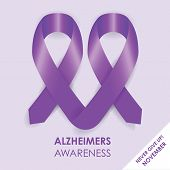 stock photo of fibromyalgia  - a purple alzheimers awareness campaign ribbon background - JPG