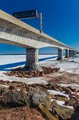 pic of confederation  - The Confederation Bridge linking New Brunswick to Prince Edward Island with sign that states in French to turn of cellphones on the bridge - JPG