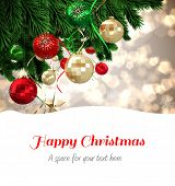 foto of shimmer  - Happy Christmas against christmas tree branches against shimmer - JPG