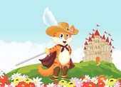 picture of puss  - illustration of Puss in boots with castle background - JPG