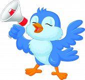 stock photo of bluebird  - illustration of Cartoon bluebird with megaphone isolated on white - JPG