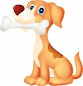 image of hound dog  - illustration of Cute dog with bone isolated on white