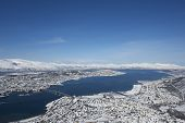 stock photo of tromso  - Aerial view to the city of Tromso - JPG