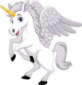 foto of unicorn  - illustration of Cartoon unicorn isolated on white - JPG