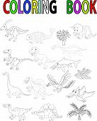 picture of giant lizard  - illustration of Dinosaur coloring book isolated on white vector - JPG