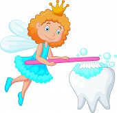 Постер, плакат: Tooth fairy brushing tooth