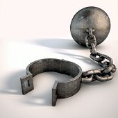 foto of shackles  - A vintage ball and chain with an open shackle on an isolated white studio background - JPG